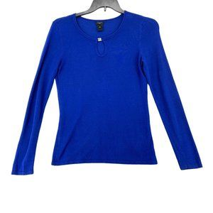 Ann Taylor Sweater Blue V-Neck Long Sleeve Small